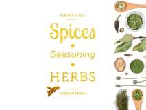 Especiarias e ervas diferentes no fundo branco Vista superior Fotografia de Stock Royalty Free