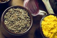 Especiarias e ervas em umas bacias cerâmicas Ingredientes do alimento e da culinária Fotografia de Stock