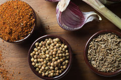 Especiarias e ervas em umas bacias cerâmicas Ingredientes do alimento e da culinária Imagem de Stock
