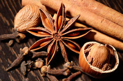 Especiarias em colheres de madeira Configuração lisa de ingredientes pimentões, sal, pimenta Himalaia das especiarias de sal, sab Foto de Stock Royalty Free