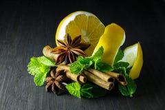 Especiarias; hortelã, anis de estrela, canela, limão em uma árvore escura fotografia de stock