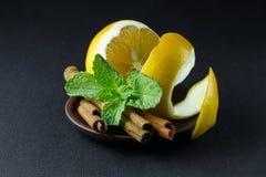 Especiarias; hortelã, anis de estrela, canela, limão em uma árvore escura fotos de stock