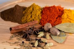 Especiarias indianas do caril na placa de madeira imagens de stock royalty free