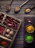 Especiarias na caixa Fotografia de Stock