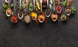 Especiarias na placa preta Imagem de Stock