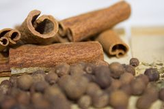 Especiarias na tabela de cozinha Fotos de Stock Royalty Free