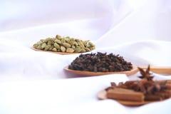 Especiarias no fundo branco Foto de Stock