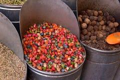 Especiarias no mercado de C4marraquexe, Marrocos Fotos de Stock