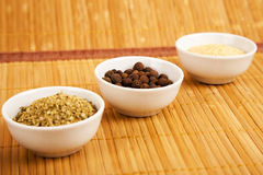 Especiarias no prato branco Fotografia de Stock