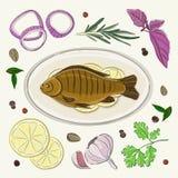 Especiarias para cozinhar peixes ilustração stock