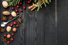 Especiarias, porcas e arandos no fundo de madeira preto Tabela rústica fotos de stock royalty free