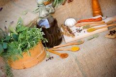 Especiarias secas e frescas do tempero - Fotos de Stock