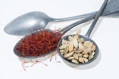 Especiarias vermelhas orgânicas cruas do açafrão e do cardamomo em colheres velhas da lata sobre Foto de Stock