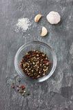 Especias: ajo, granos de pimienta, sal del mar en una piedra fotografía de archivo libre de regalías