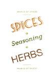 Especias, condimento y palabras de las hierbas Fotografía de archivo libre de regalías