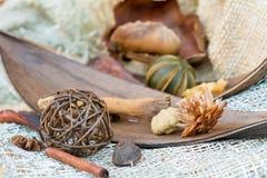 Especias de la Navidad en un fondo de la tela natural Palillos de canela y anice Foco seleccionado Imagen de archivo