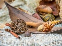 Especias de la Navidad en un fondo de la tela natural Palillos de canela y anice Foco seleccionado Imagen de archivo libre de regalías