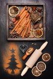 Especias de la Navidad para cocer y la decoración Imagen de archivo libre de regalías