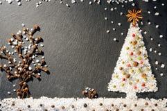 Especias de la pimienta negra, blanca y roja, del anís de estrella, de los clavos, de la pimienta inglesa y de la sal Fondo de es Fotos de archivo libres de regalías