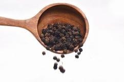 Especias de la pimienta negra en cuchara de madera Imagen de archivo libre de regalías