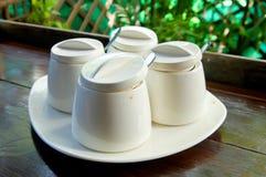 Especias del condimento en las botellas blancas Foto de archivo libre de regalías