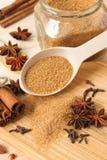 Especias dulces con el azúcar marrón Imágenes de archivo libres de regalías