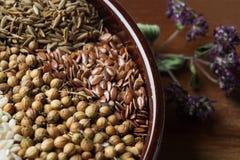 Especias e hierbas en cuenco de cerámica condimento Anuncio natural colorido Imagen de archivo