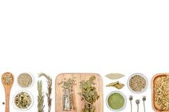 Especias e hierbas en el fondo blanco Visión superior Imagen de archivo libre de regalías