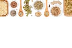 Especias e hierbas en el fondo blanco Visión superior fotos de archivo libres de regalías
