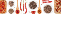 Especias e hierbas en el fondo blanco Visión superior fotografía de archivo