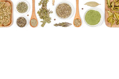Especias e hierbas en el fondo blanco Visión superior imagen de archivo