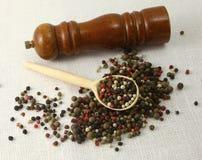 Especias e hierbas en los cuencos de madera Ingredientes de la cocina de la comida colorido Fotografía de archivo