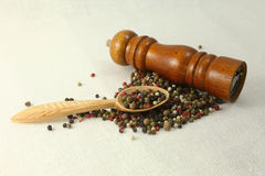 Especias e hierbas en los cuencos de madera Ingredientes de la cocina de la comida colorido Imagenes de archivo