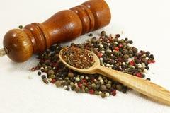 Especias e hierbas en los cuencos de madera Ingredientes de la cocina de la comida colorido Imagen de archivo