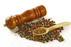 Especias e hierbas en los cuencos de madera Ingredientes de la cocina de la comida colorido Foto de archivo