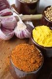 Especias e hierbas en tazones de fuente de cerámica Ingredientes del alimento y de la cocina Imagen de archivo
