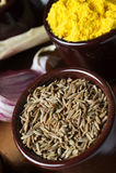 Especias e hierbas en tazones de fuente de cerámica Ingredientes del alimento y de la cocina Imágenes de archivo libres de regalías