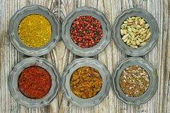 Especias e hierbas en tazones de fuente del metal Ingredientes del alimento y de la cocina Imagenes de archivo