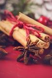 Especias e ingredientes festivos de la Navidad Fotos de archivo