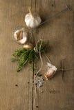 Especias (el ajo, el tomillo, ve la sal, los granos de pimienta negros)  Fotos de archivo libres de regalías