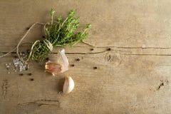 Especias (el ajo, el tomillo, ve la sal, los granos de pimienta negros)  Imagen de archivo libre de regalías