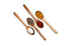 Especias en cucharas de madera Fotos de archivo libres de regalías
