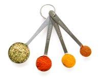 Especias en cucharas dosificadoras foto de archivo
