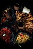 Especias en el mercado en Nepal - comida asiática Fotografía de archivo libre de regalías