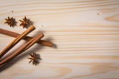 Especias en el vector de madera backgrouns imagen de archivo