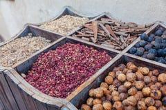Especias en la especia Souk de Deira Dubai, UAE Fotos de archivo libres de regalías