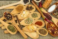 Especias en las cucharas de madera Ventas de especias exóticas Comida del condimento Especias aromáticas Fotografía de archivo libre de regalías