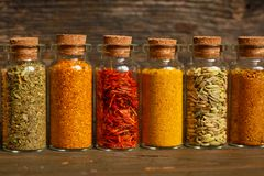 Especias, hierbas y semillas Fotografía de archivo libre de regalías