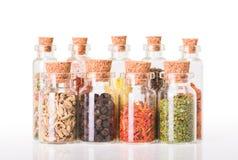 Especias indias en botellas Fotografía de archivo libre de regalías