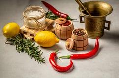 Especias mezcladas para cocinar de los pescados y del pollo y sal en cucharadas, limón de la cebolla y granos de madera de la pim fotos de archivo libres de regalías